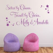 Sisters by Chance, Friends by Choice Personalised Wall sticker / decal